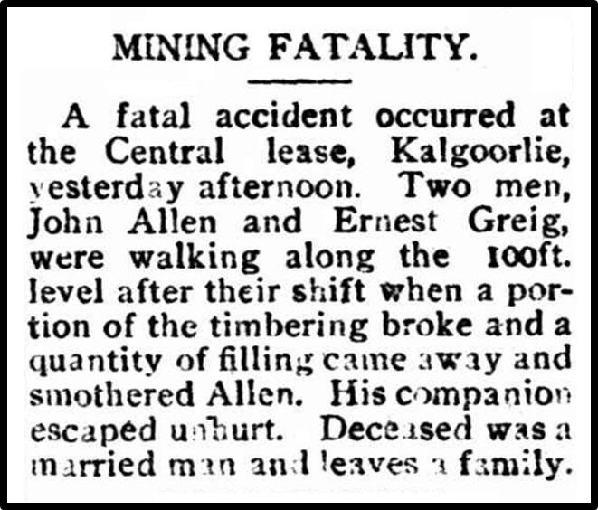 John ALLEN | Western Australian Virtual Miners Memorial
