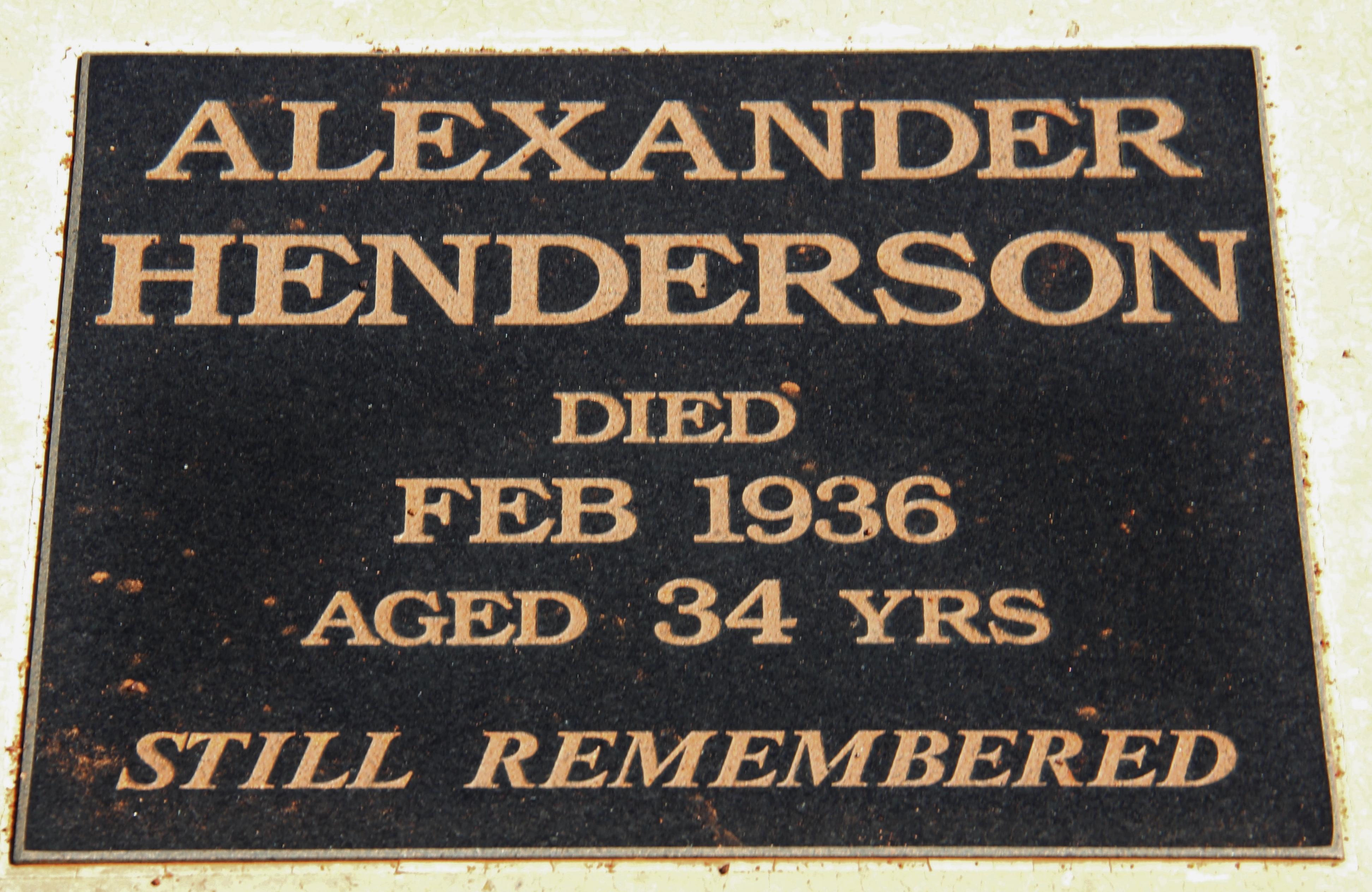 Coolgardie Cemetery - Alexander Henderson